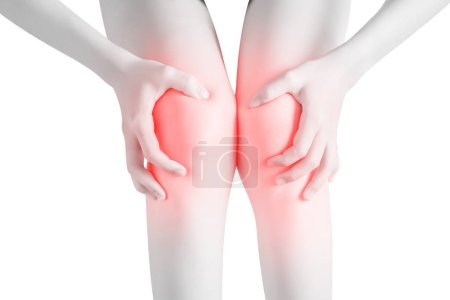 Photo for Acute pain in a woman knee isolated on white background. Clipping path on white background - Royalty Free Image