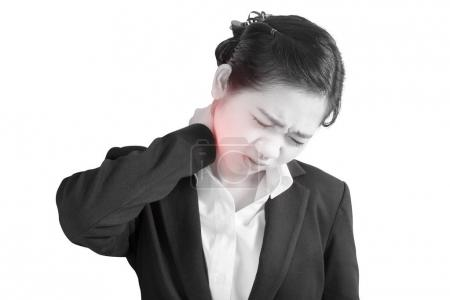 Photo for Acute pain and sore throat symptom in a businesswoman isolated on white background. Clipping path on white background - Royalty Free Image