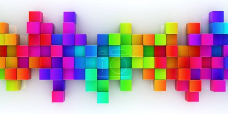 Photo for Rainbow of colorful blocks abstract background - 3d render - Royalty Free Image