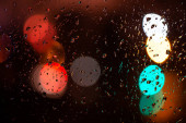 raindrops on the window at night with blurred city lights