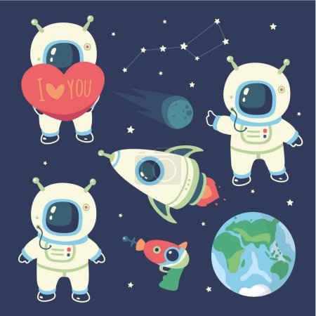 Illustration for Vector cartoon style cosmonaut  set - Royalty Free Image