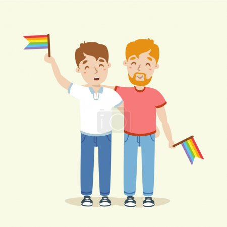 vector gay couple flat illustration