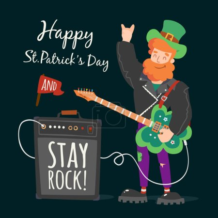 Vector rock leprechaunst. patrick's day illustration