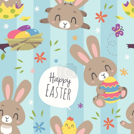 vector cartoon style easter bunny seamless pattern