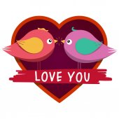 Heart shaped frame and cute inlove birds