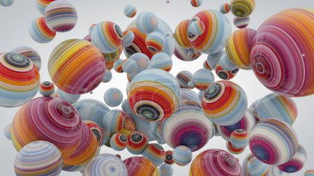 Abstract background with balls, 3D rendering, stretched pixels