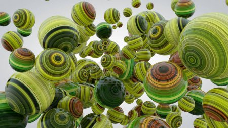 Abstract background with greenery balls, 3D rendering