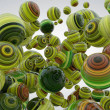 Abstract background with greenery balls, 3D render...