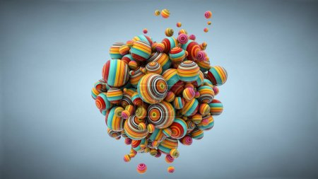 Abstract background with balls, 3D rendering, stretched pixels t
