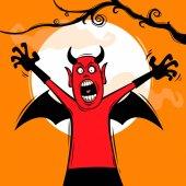 Scary devil screaming vector illustration