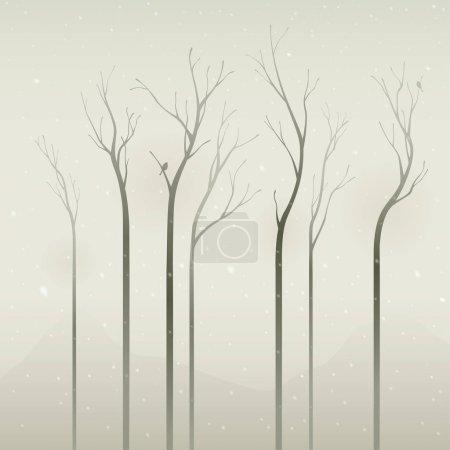 Illustration pour Arbres secs le matin brumeux, illustration vectorielle - image libre de droit