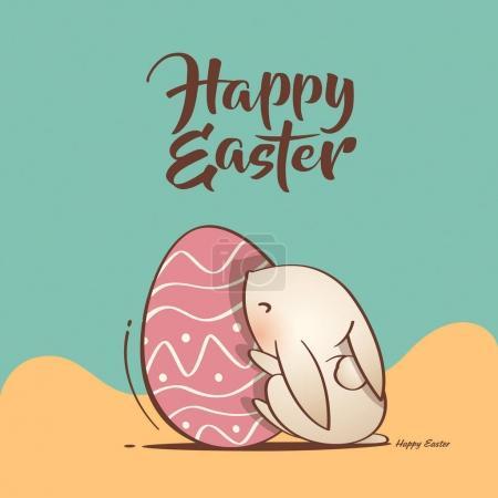 Illustration pour Mignon lapin de Pâques et le vecteur de l'oeuf de Pâques - image libre de droit