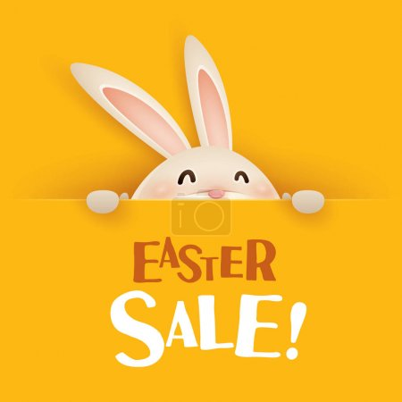 Illustration for Happy Easter! Easter bunny with big sign. - Royalty Free Image