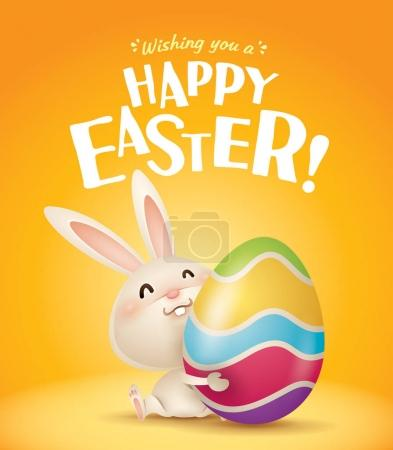 Illustration for Cute Easter bunny and Easter egg vector - Royalty Free Image