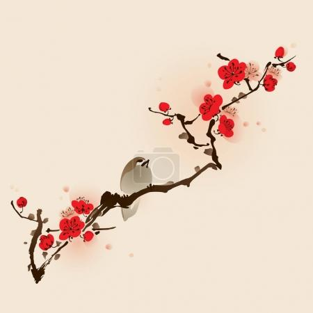 Illustration for Banner of chinese style with bird on blossoming plum branch, vector illustration - Royalty Free Image