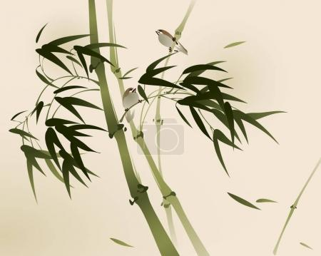 swallows in branches of bamboo trees