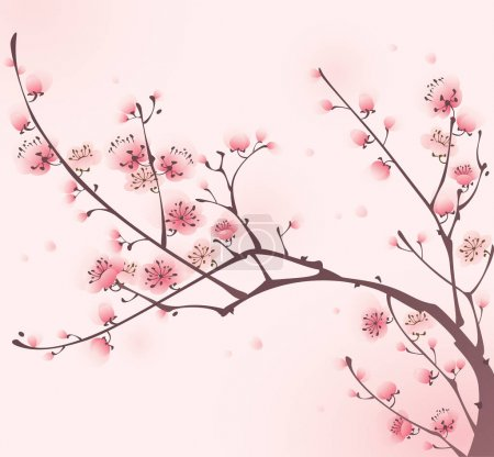chinese style blossoming cherry tree