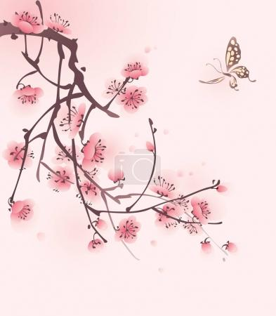 blossoming cherry branch and butterfly