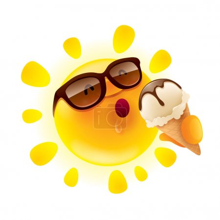 cartoon character of funny sun with ice-cream