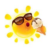 cartoon character of funny sun with ice-cream