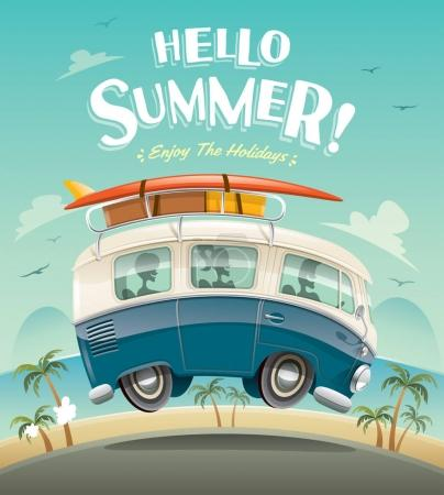 Illustration for Bus with tourists and luggage on road, summer holidays concept - Royalty Free Image