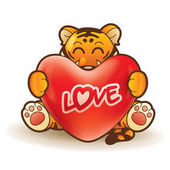 Greeting card with cartoon character of tiger with and heart happy saint valentine day concept
