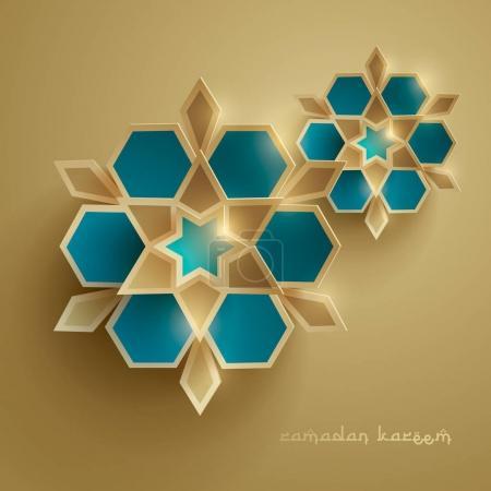 Ramadan greeting card with islamic symbols