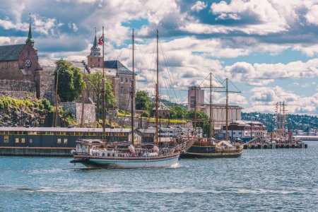 Akershus Fortress in Oslo at summer day with boats