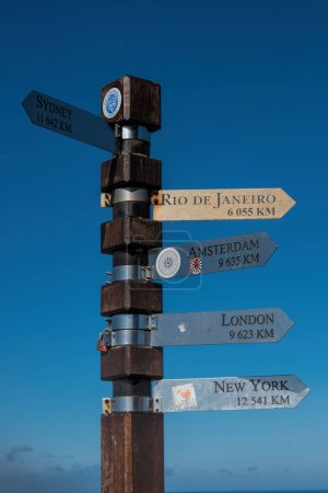 signpost of cities on blue background