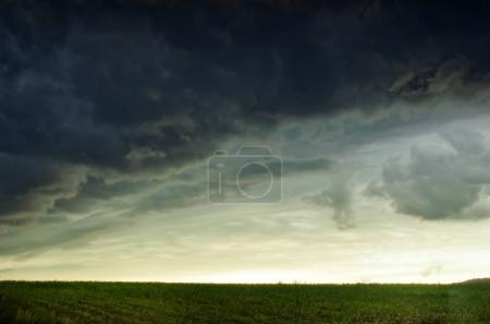 thunderstorm clouds and field