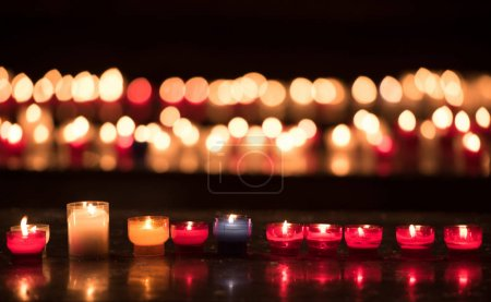 row of colorful candles