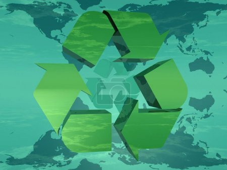 Earth and green recycling symbol