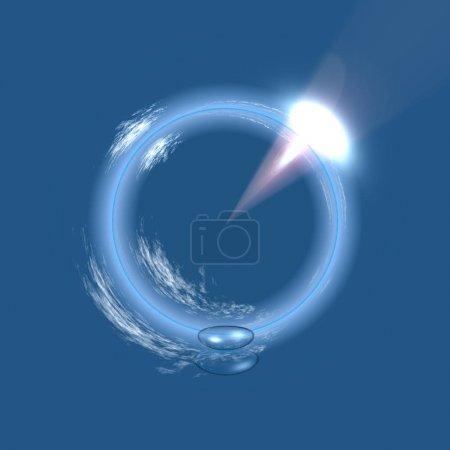 Photo pour Panorama de boule de verre sur fond d'eau bleue - image libre de droit
