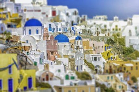 White houses in Santorini Island, Greece. Tilt shift effect