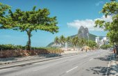 Empty street on Ipanema Beach in Rio De Janeiro