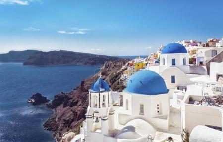 Santorini blue dome churches, Greece. Aegean Sea