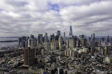 Photo for New York City aerial panorama, view of Lower Manhattan skyscrapers - Royalty Free Image