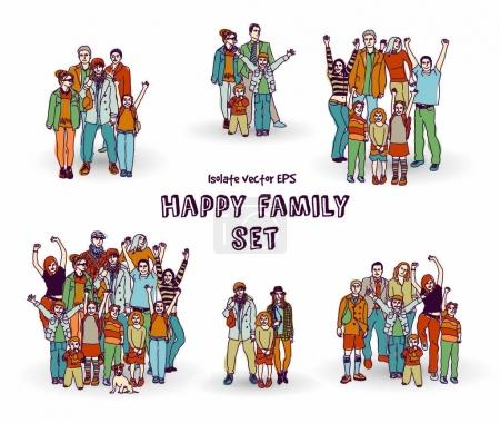 Happy family groups of people