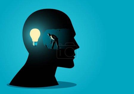 Illustration pour Homme d'affaires creuser et l'exploitation minière pour trouver la lumière de l'ampoule, à la recherche d'idées ou comment trouver le bon concept d'idée d'entreprise - image libre de droit