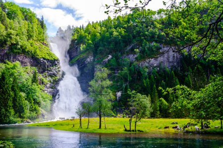 Photo for View on scenic waterfall landscape in Norway - Royalty Free Image