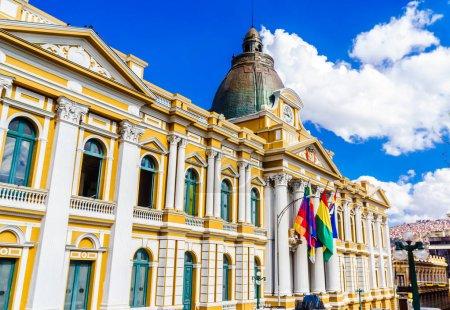 Photo pour Vue sur l'édifice du gouvernement bolivien, La Paz - Bolivie - image libre de droit