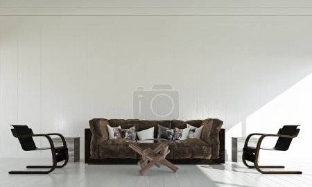 Photo for 3d rendering interior design idea of minimal living room - Royalty Free Image