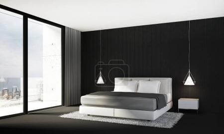das Innendesign von minimalistischem Schlafzimmer und schwarzem Wandhintergrund