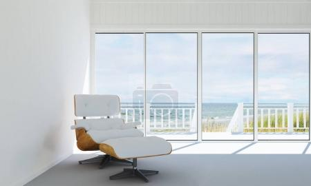 he interior design of  lounge chairs and living room and wood wall texture and sea view