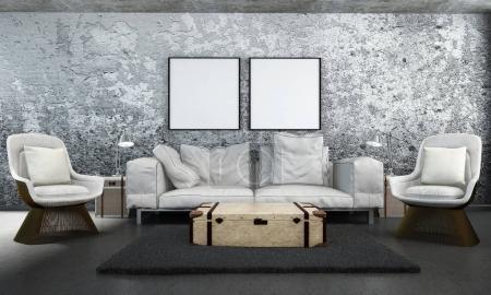 Photo pour Rendu 3D décoration de salon - image libre de droit