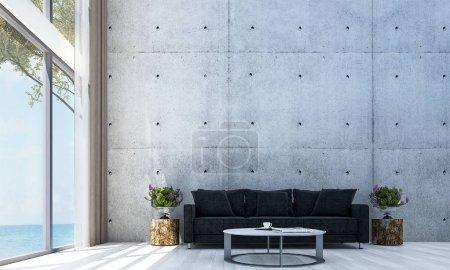 Photo pour Le design intérieur du modélisme salon et béton de mur et de la mer Voir - image libre de droit
