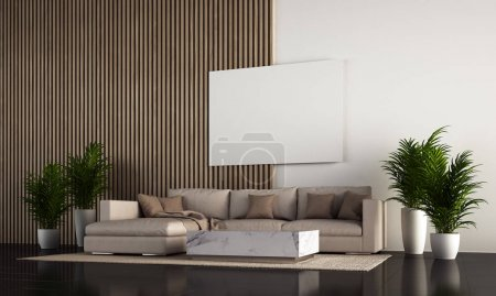 Photo for The modern cozy interior design of living room and wooden wall background - Royalty Free Image