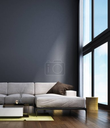 Photo for The lounge and double space living room and kitchen interior design minimal style and blue wall background / New 3D rendering interior design scene - Royalty Free Image