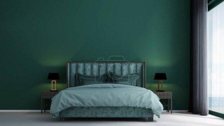 Photo pour Design intérieur moderne de chambre verte et motif de fond de texture murale en béton - image libre de droit