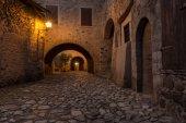 Medieval village at sunset